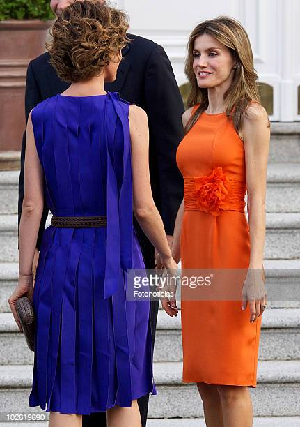 Princess Letizia of Spain receives Asma alAssad at Zarzuela Palace on July 4 2010 in Madrid Spain