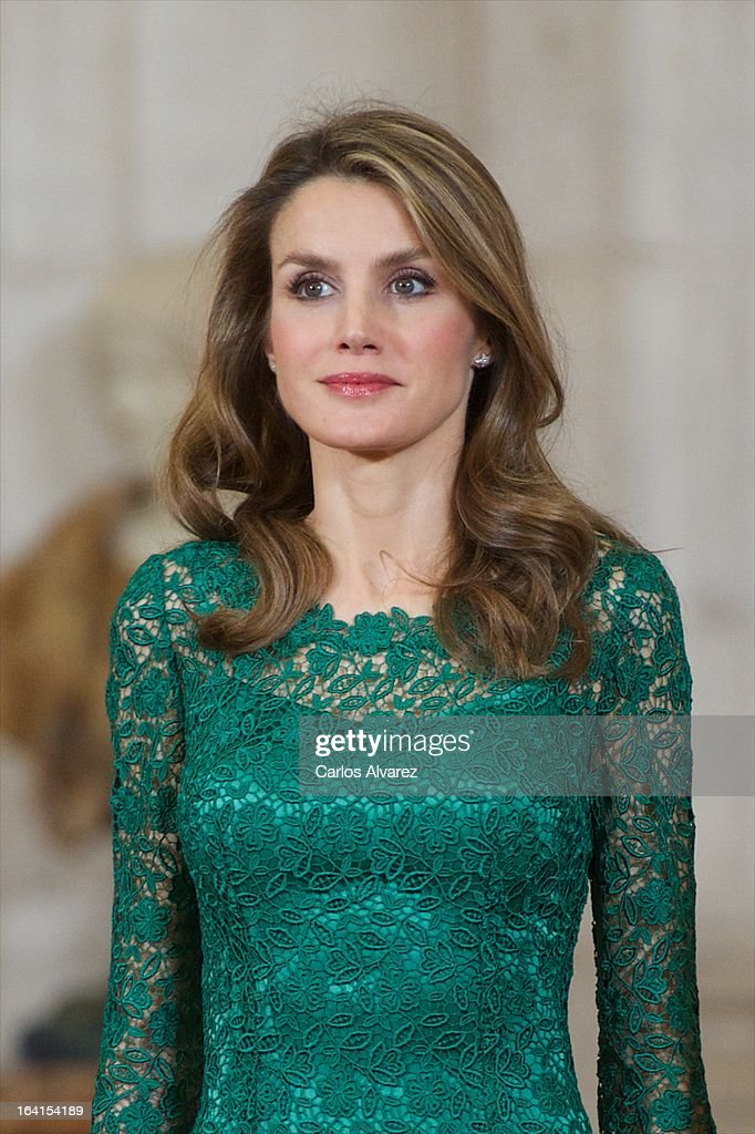 Princess Letizia of Spain receives International Olympic Committee Evaluation Commission Team for a dinner at the Royal Palace on March 20, 2013 in Madrid, Spain.