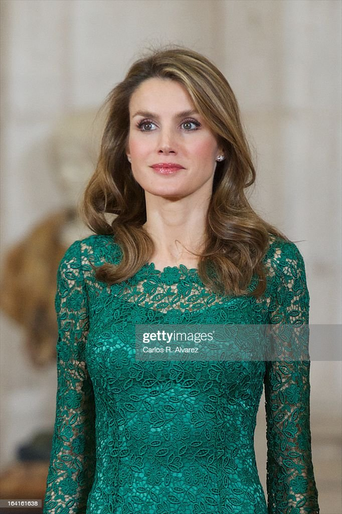 Princess <a gi-track='captionPersonalityLinkClicked' href=/galleries/search?phrase=Letizia+of+Spain&family=editorial&specificpeople=158373 ng-click='$event.stopPropagation()'>Letizia of Spain</a> receives International Olympic Committee Evaluation Commission Team for a dinner at the Royal Palace on March 20, 2013 in Madrid, Spain.