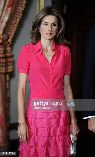 Princess Letizia of Spain receives King Abdullah Bin Abdelaziz Al Saud of Saudi Arabia July 15 2008 at the Royal Palace in Madrid Spain