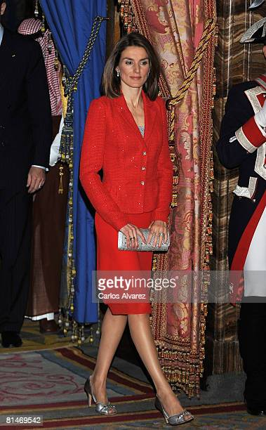Princess Letizia of Spain receives Prince Bin Abdulaliz AlSaud of Saudi Arabia at the Royal Palace on June 06 2008 in Madrid Spain