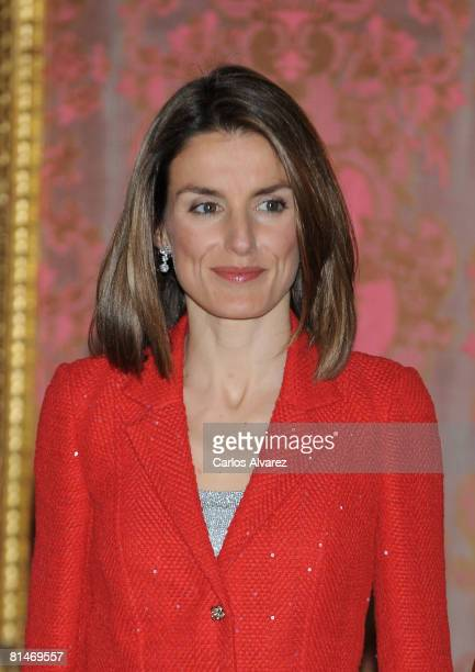 Princess Letizia of Spain receives Prince Bin Abdulaliz AlSaud of Saudi Arabia at the Royal Palace on June 06 2008 in Madrid Spain