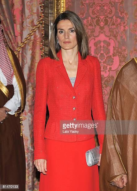 Princess Letizia of Spain receives Saudi Arabian Crown Prince Bin Abdulaziz AsSaud at The Royal Palace on June 6 2008 in Madrid Spain