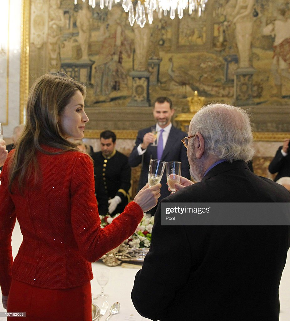 Princess Letizia of Spain receives Spanish author and award winner Jose Manuel Caballero Bonald for a lunch at the '2013 Cervantes Award' at the Royal Palace on April 22, 2013 in Madrid, Spain.