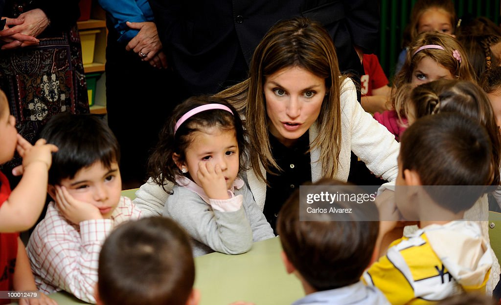 Princess Letizia of Spain visits 'Infanta Leonor' school on May 20, 2010 in Castrillon, Asturias, Spain.