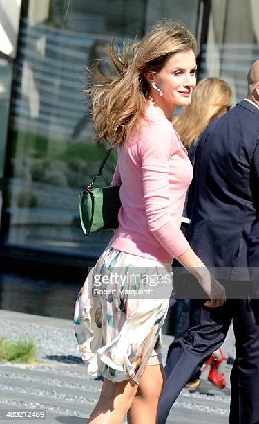 Princess Letizia of Spain visits the new 'Puig' company headquarters at the Torre Puig on April 7 2014 in Barcelona Spain The Puig company is a...