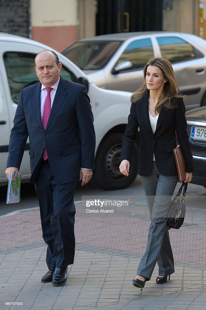 Princess Letizia of Spain (R) visits the Rare Diseases Spanish Federation on February 5, 2013 in Madrid, Spain.