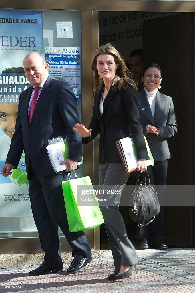 Princess <a gi-track='captionPersonalityLinkClicked' href=/galleries/search?phrase=Letizia+of+Spain&family=editorial&specificpeople=158373 ng-click='$event.stopPropagation()'>Letizia of Spain</a> (C) visits the Rare Diseases Spanish Federation on February 5, 2013 in Madrid, Spain.