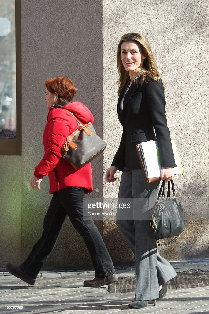 Princess <a gi-track='captionPersonalityLinkClicked' href=/galleries/search?phrase=Letizia+of+Spain&family=editorial&specificpeople=158373 ng-click='$event.stopPropagation()'>Letizia of Spain</a> (R) visits the Rare Diseases Spanish Federation on February 5, 2013 in Madrid, Spain.