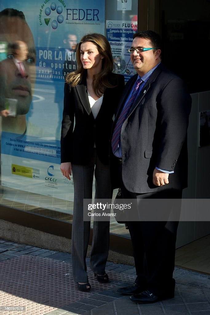 Princess <a gi-track='captionPersonalityLinkClicked' href=/galleries/search?phrase=Letizia+of+Spain&family=editorial&specificpeople=158373 ng-click='$event.stopPropagation()'>Letizia of Spain</a> (L) visits the Rare Diseases Spanish Federation on February 5, 2013 in Madrid, Spain.