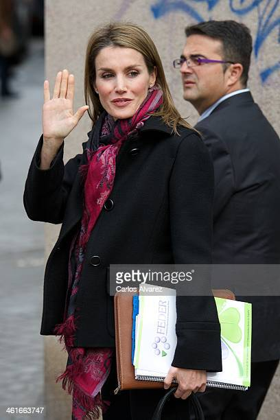 Princess Letizia of Spain visits the Rare Diseases Spanish Federation on January 10 2014 in Madrid Spain