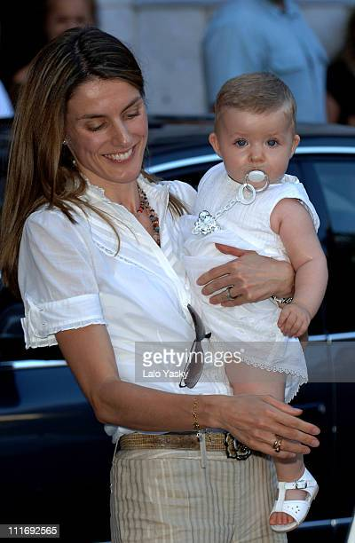 Princess Letizia of Spain with baby Leonor during their summer holiday in Palma de Mallorca on July 21 2006