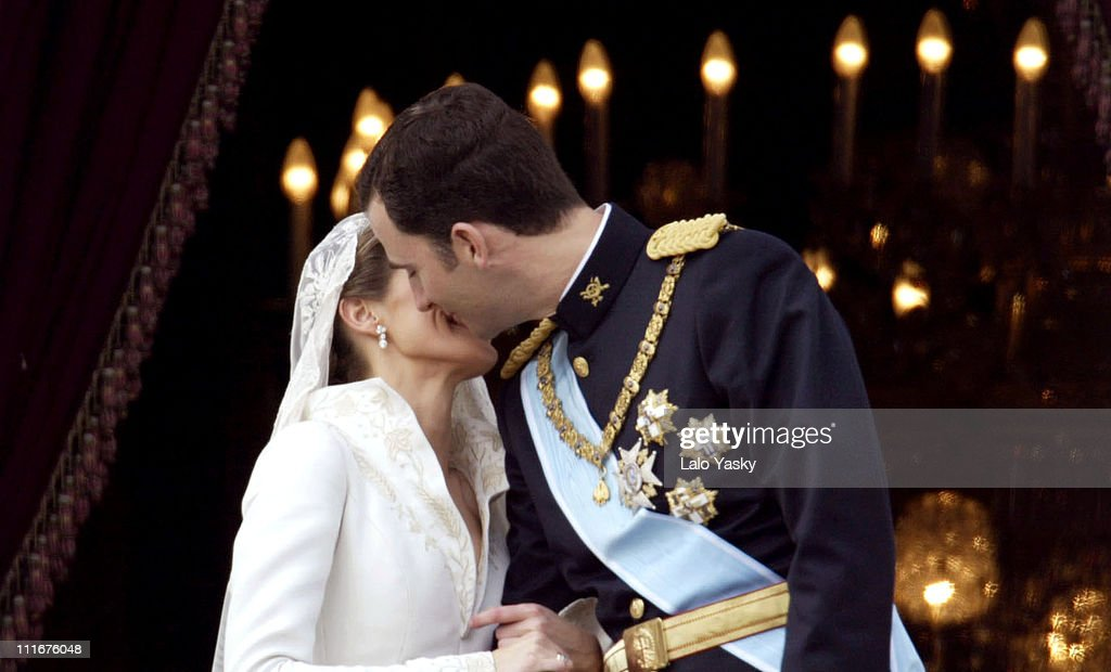 Princess Letizia Ortiz and Crown Prince Felipe during Royal Wedding Between Prince Felipe of Spain and Letiza Ortiz at Alumudena Cathedral in Madrid, Spain.