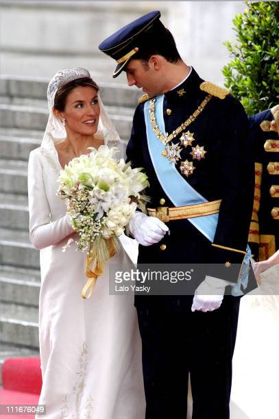Princess Letizia Ortiz and Crown Prince Felipe during Royal Wedding Between Prince Felipe of Spain and Letiza Ortiz at Alumudena Cathedral in Madrid...
