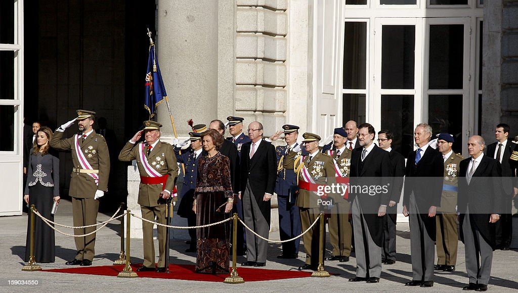Princess Letizia Ortiz, Prince Felipe de Borbon, King Juan Carlos I, Queen Sofia of Spain, Presidente Mariano Rajoy, Defense Secretary Pedro Morenes and Home Secretary Jorge Fernandez Diaz attend the new year's military parade at the Royal Palace on January 6, 2013 in Madrid, Spain.