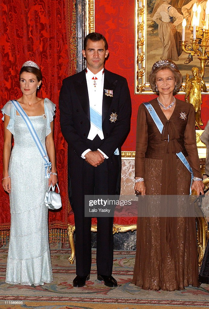 Princess Letizia Prince Felipe and Queen Sofia during Spanish Royals Receive Czech President Vaclav Klaus And Wife Livia Klausova for a Gala Dinner...