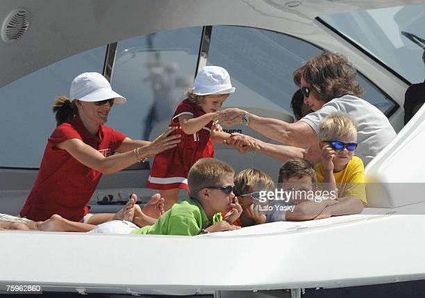 Princess Letizia Princess Leonor Juan Valentin Miguel Valentin Froilan Valentin Pablo Nicolas and Queen Sofia on board of the 'Somni' during the 26th...
