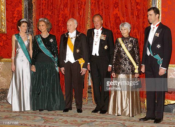 Princess Letizia Queen Sofia Hungarian President Ferenc Madl King Juan Carlos Dalma Madl and Crown Prince Felipe