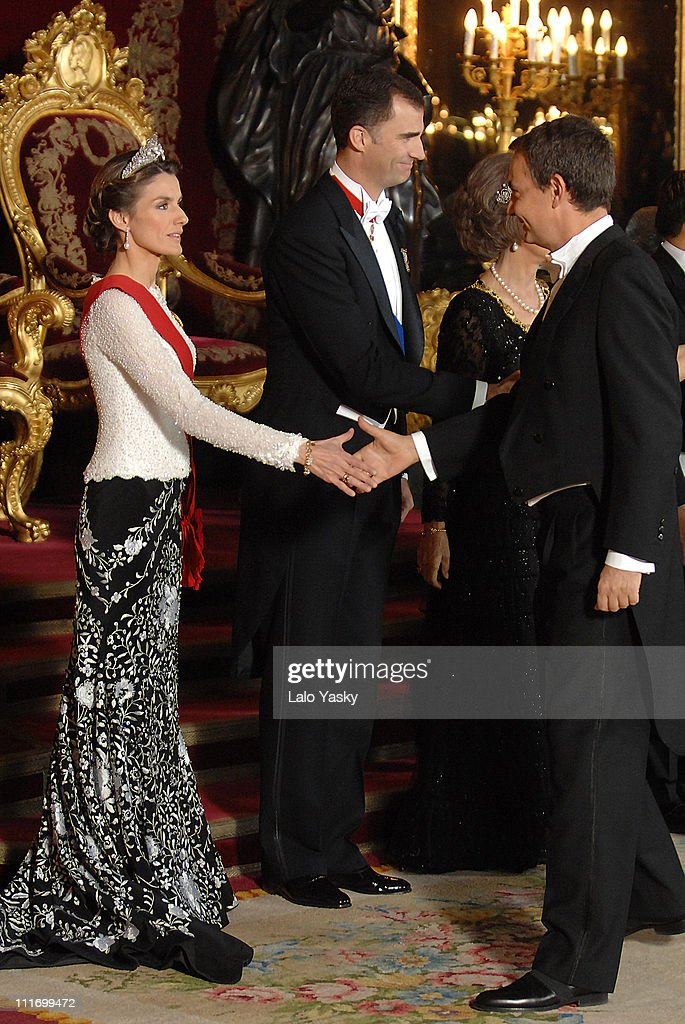 Princess Letizia receives Prime Minister <a gi-track='captionPersonalityLinkClicked' href=/galleries/search?phrase=Jose+Luis+Rodriguez+Zapatero&family=editorial&specificpeople=215132 ng-click='$event.stopPropagation()'>Jose Luis Rodriguez Zapatero</a> at the Gala Dinner in honour of the President of The Philippines Gloria Macapagal and her husband Jose Miguel Arroyo, at the Royal Palace on December 3, 2007 in Madrid, Spain