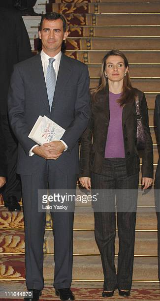 Princess Letizia three months pregnant and Crown Prince Felipe Preside over the Presentation of the New Essential Dictionary of the Spanish Royal...