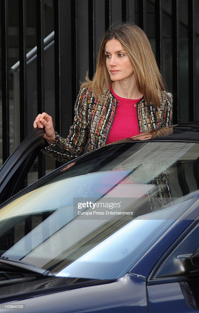 Princess Letizia visits King Juan Carlos of Spain at USP San Jose Hospital on April 15, 2012 in Madrid, Spain. King Juan Carlos of Spain underwent an operation on his right hip after he fractured it in a fall during a private visit to Botswana.