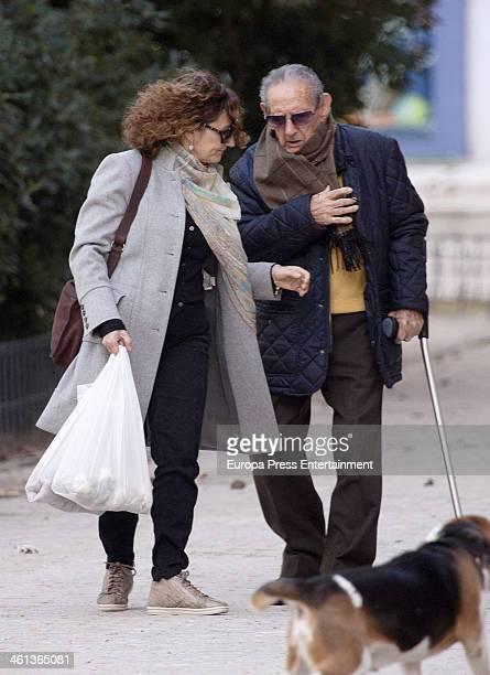Princess Letizia's mother Paloma Rocasolano and grandfather Francisco Rocasolano are seen on January 7 2014 in Madrid Spain