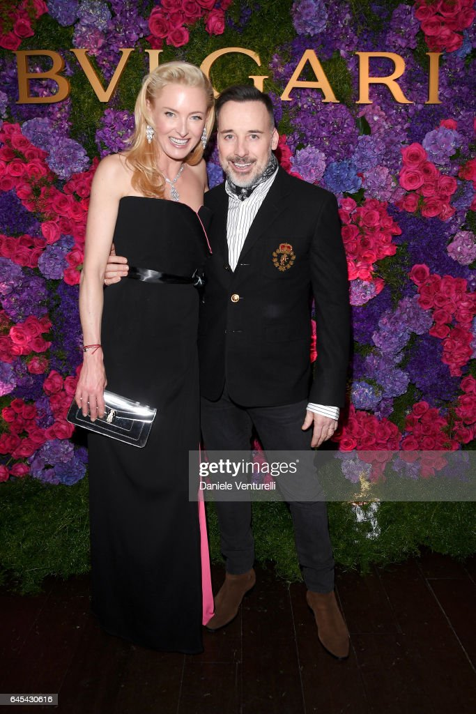 Princess Lilly Zu Sayn Wittgenstein Berleburg (L) and filmmaker David Furnish attend Bulgari's Pre-Oscar Dinner at Chateau Marmont on February 25, 2017 in Hollywood, United States.