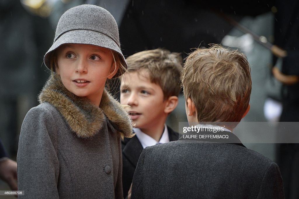 Princess Louise, Prince Aymeric and Prince Nicolas of Belgium arrive to the funeral ceremony at the Saint Michael and Saint Gudula cathedral in Brussels, on December 12, 2014 during the funeral of late Queen Fabiola of Begium. Queen Fabiola de Mora y Aragon, widow of Belgian King Boudewijn - Baudouin, passed away on December 5 at the age of 86.