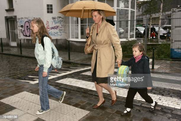 Princess Luisa Maria Princess Astrid and Princess Laetitia Maria of Belgium arrive at Sint Jan Berghmans College to attend the first day of the new...