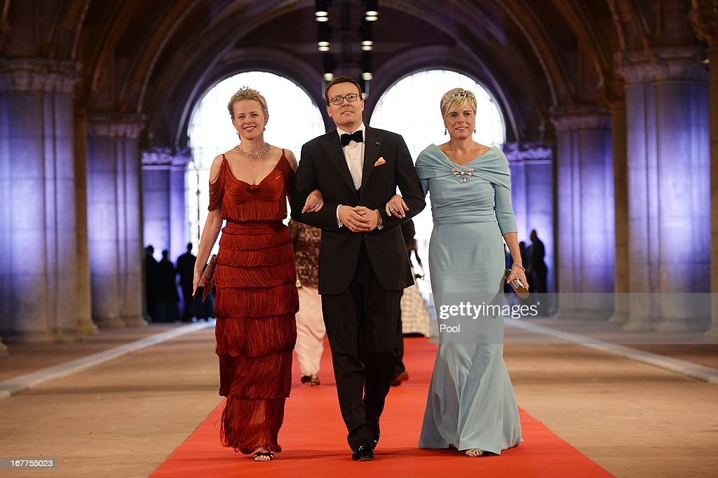 Princess Mabel of Orange-Nassau, Prince Constantijn of the Netherlands and Princess Laurentien of the Netherlands arrive to attend a dinner hosted by Queen Beatrix of The Netherlands ahead of her abdication at Rijksmuseum on April 29, 2013 in Amsterdam, Netherlands.