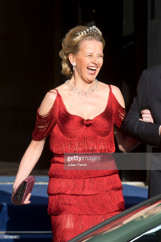 Princess Mabel of the Netherlands leaves The Royal Palace in Amsterdam to attend a dinner hosted by Queen Beatrix of The Netherlands ahead of her abdication at the Rijksmuseum on April 29, 2013 in Amsterdam, Netherlands.