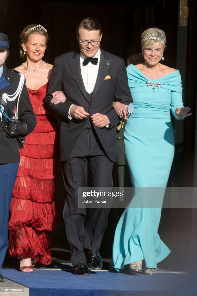 Princess Mabel of the Netherlands with her brother in law Prince Constantijn of the Netherlands and his wife Princess Laurentien of the Netherlands leave The Royal Palace in Amsterdam to attend a dinner hosted by Queen Beatrix of The Netherlands ahead of her abdication at the Rijksmuseum on April 29, 2013 in Amsterdam, Netherlands. (Photo by Julian Parker/UK Press via Getty Images