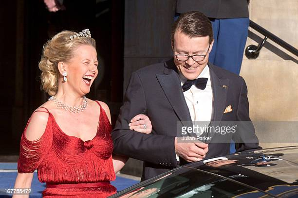 Princess Mabel of the Netherlands with her brother in law Prince Constantijn of the Netherlands leave The Royal Palace in Amsterdam to attend a...