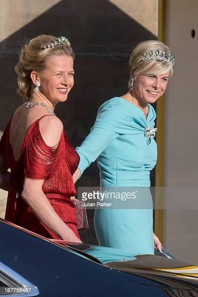 Princess Mabel of the Netherlands with Princess Laurentien of the Netherlands leave The Royal Palace in Amsterdam to attend a dinner hosted by Queen...