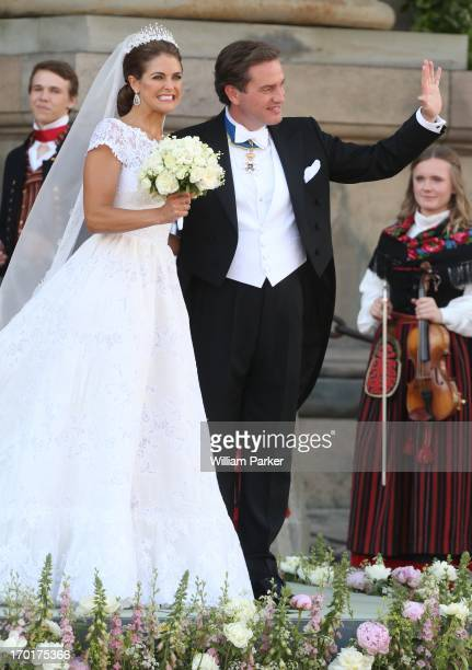 Princess Madeleine and Chrisopher O'Niell depart from the wedding ceremoney of Princess Madeleine and Chrisopher O'Niell hosted by King Carl Gustaf...