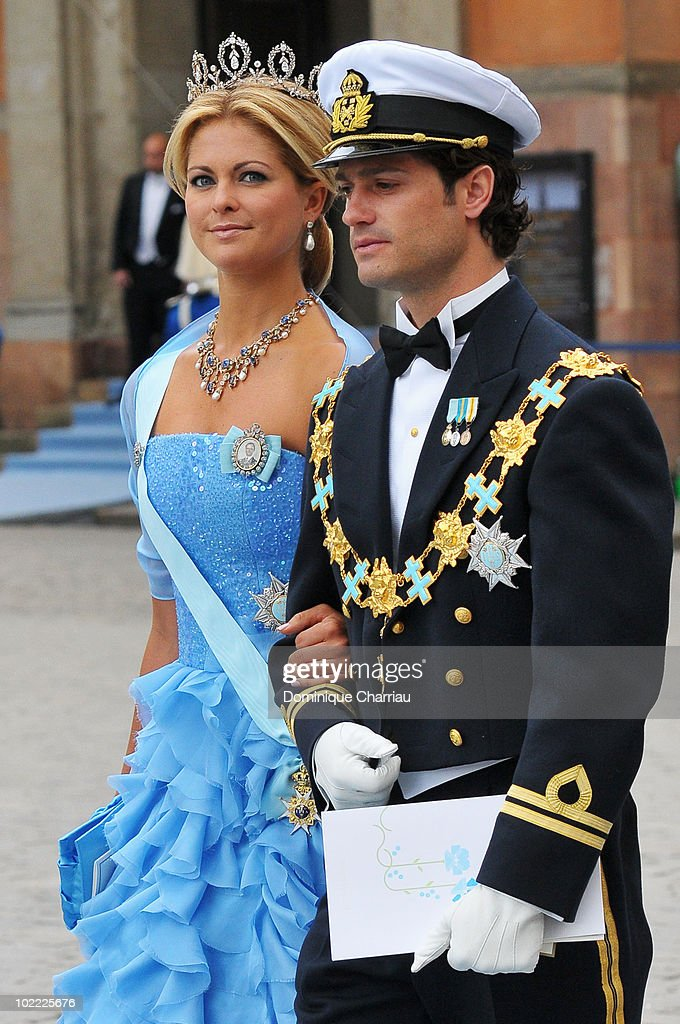 Princess Madeleine of Sweden and brother Prince Carl Philip of Sweden attend the wedding ceremony between Crown Princess Victoria of Sweden and Daniel Westling at Stockholm Cathedral on June 19, 2010 in Stockholm, Sweden.