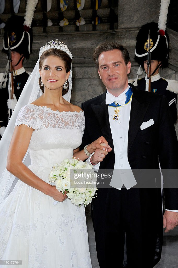 Princess Madeleine of Sweden and Christopher O'Neill after their wedding ceremony hosted by King Carl Gustaf and Queen Silvia at The Royal Palace on June 8, 2013 in Stockholm, Sweden.