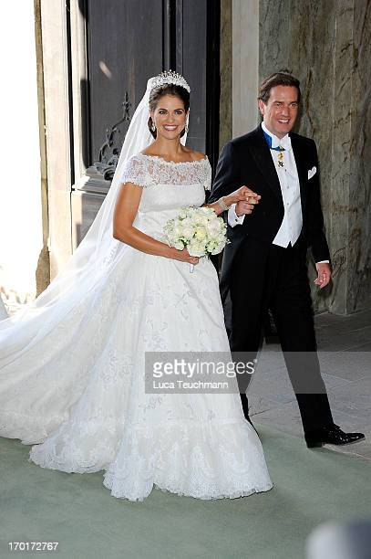 Princess Madeleine of Sweden and Christopher O'Neill after their wedding ceremony hosted by King Carl Gustaf and Queen Silvia at The Royal Palace on...