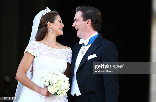 Princess Madeleine of Sweden and Christopher O'Neill appear on the balcony after the wedding of Princess Madeleine of Sweden and Christopher O'Neill...