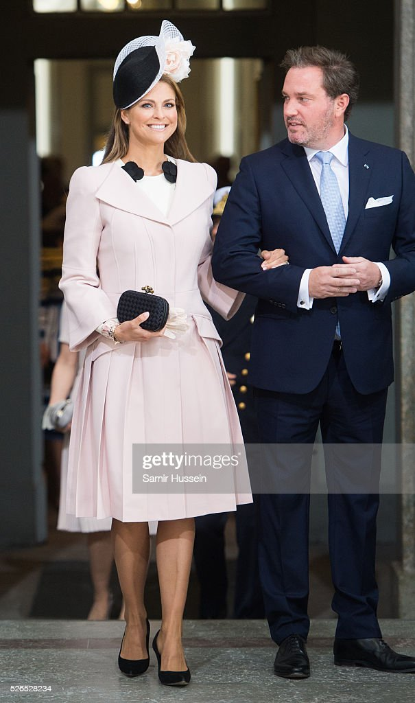 Princess Madeleine of Sweden and Christopher O'Neill arrive at the Royal Palace to attend Te Deum Thanksgiving Service to celebrate the 70th birthday of King Carl Gustaf of Sweden on April 30, 2016 in Stockholm, Sweden.