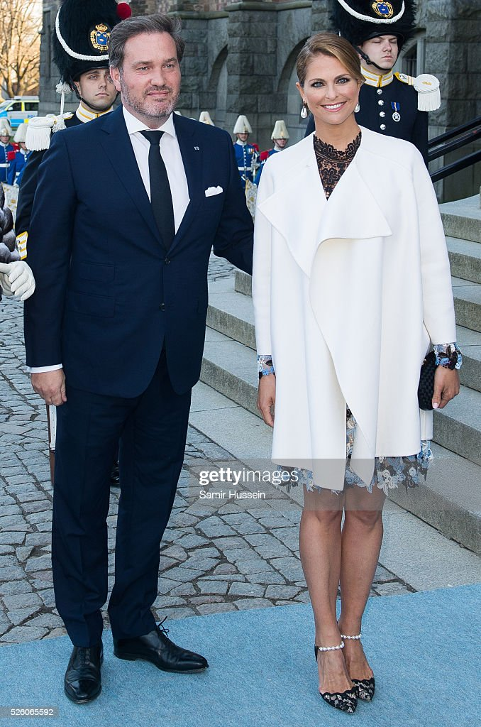 Princess Madeleine of Sweden and Christopher O'Neill arrive to the Nordic Museum to attend a concert of the Royal Swedish Opera and Stockholm Concert Hall to celebrate the 70th birthday of King Carl Gustaf of Sweden on April 29, 2016 in Stockholm, Sweden.