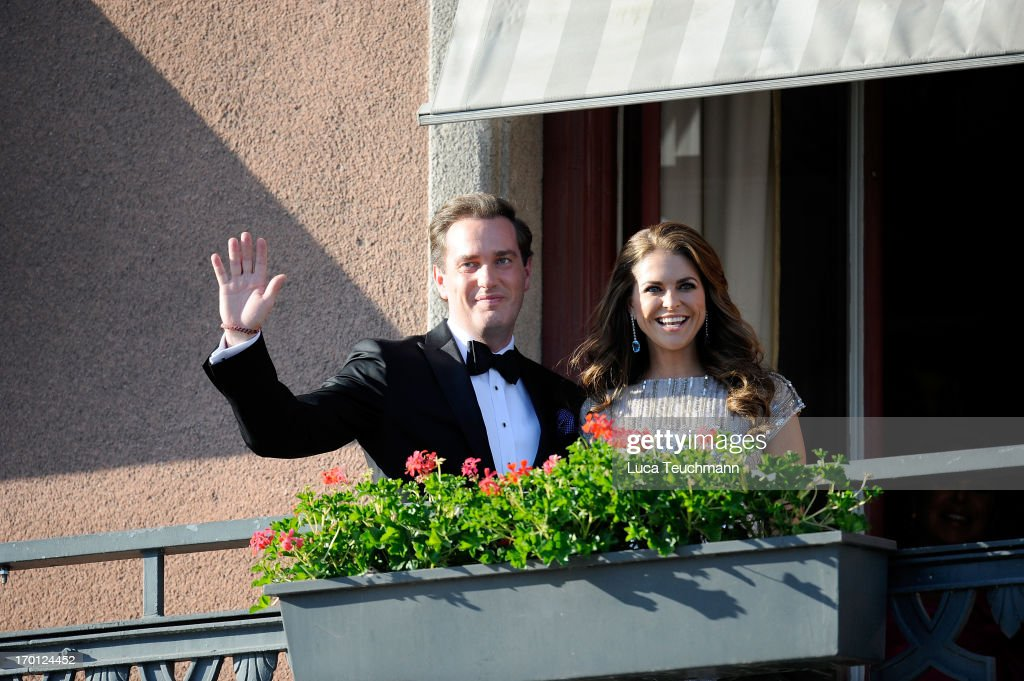 Princess Madeleine of Sweden and Christopher O'Neill attend a private dinner on the eve of the wedding of Princess Madeleine and Christopher O'Neill hosted by King Carl Gustaf and Queen Silvia>> at The Grand Hotel on June 7, 2013 in Stockholm, Sweden.
