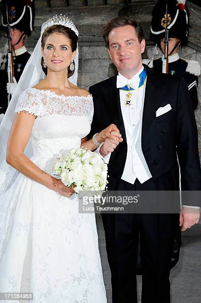 Princess Madeleine of Sweden and Christopher O'Neill attends the wedding of Princess Madeleine of Sweden and Christopher O'Neill hosted by King Carl...