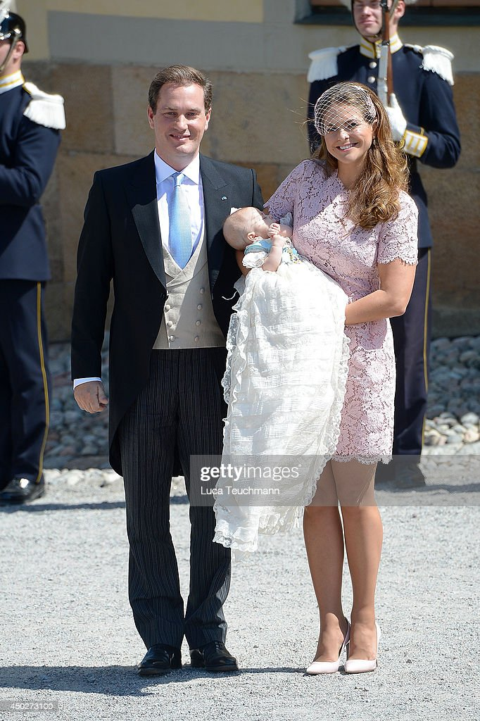 Princess Madeleine of Sweden and <a gi-track='captionPersonalityLinkClicked' href=/galleries/search?phrase=Christopher+O%27Neill&family=editorial&specificpeople=7470611 ng-click='$event.stopPropagation()'>Christopher O'Neill</a> carries her daughter Princess Leonore after his christening for Princess Leonore's Royal Christening at Drottningholm Palace Chapel on June 8, 2014 in Stockholm, Sweden.
