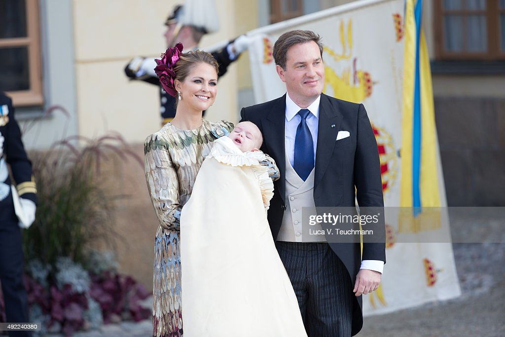 Princess Madeleine of Sweden and Christopher O'Neill carries her son Prince Nicolas are seen at Drottningholm Palace for the Christening of Prince Nicolas of Sweden at Drottningholm Palace on October 11, 2015 in Stockholm, Sweden.