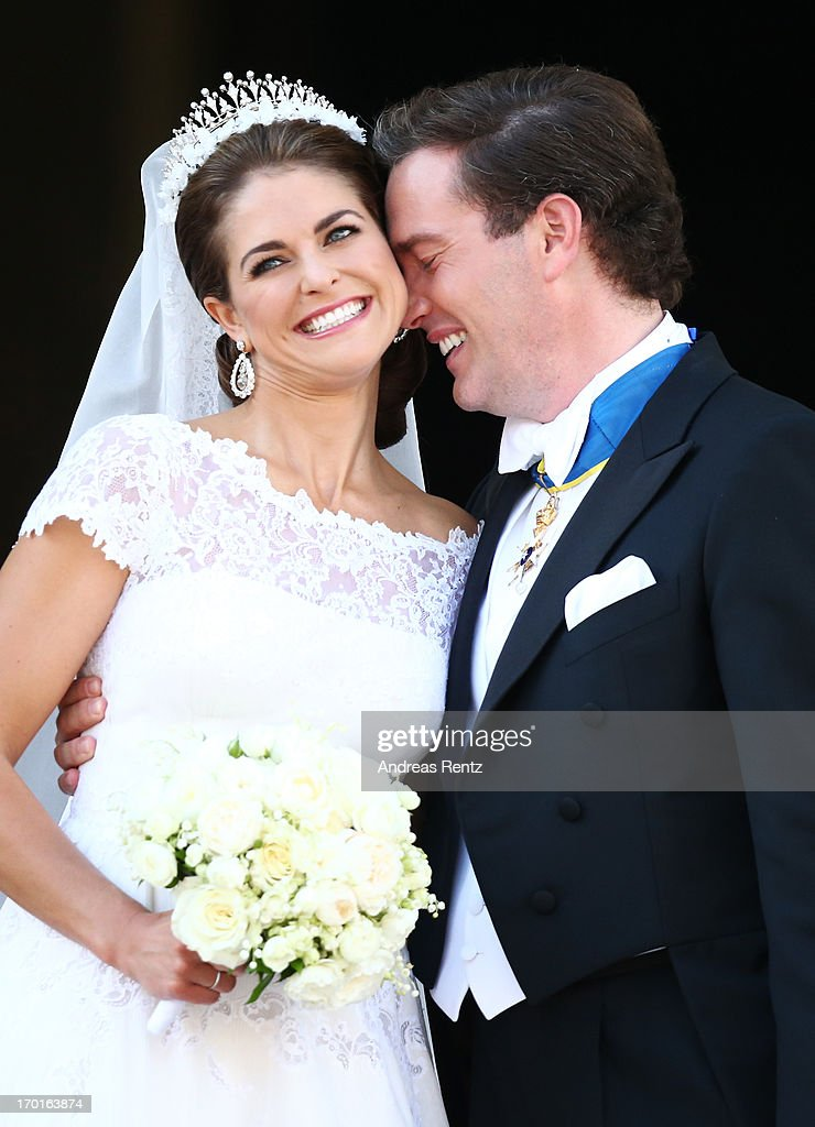 Princess Madeleine of Sweden and <a gi-track='captionPersonalityLinkClicked' href=/galleries/search?phrase=Christopher+O%27Neill&family=editorial&specificpeople=7470611 ng-click='$event.stopPropagation()'>Christopher O'Neill</a> depart from the wedding ceremony of Princess Madeleine of Sweden and <a gi-track='captionPersonalityLinkClicked' href=/galleries/search?phrase=Christopher+O%27Neill&family=editorial&specificpeople=7470611 ng-click='$event.stopPropagation()'>Christopher O'Neill</a> hosted by King Carl Gustaf XIV and Queen Silvia at The Royal Palace on June 8, 2013 in Stockholm, Sweden.