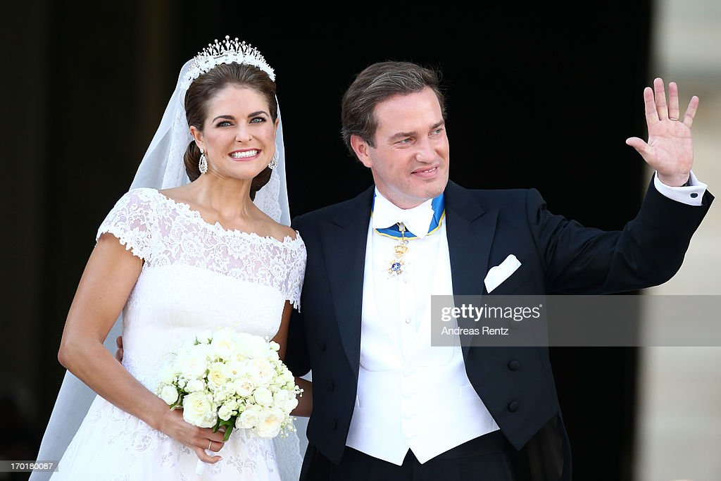 <a gi-track='captionPersonalityLinkClicked' href=/galleries/search?phrase=Princess+Madeleine+of+Sweden&family=editorial&specificpeople=160243 ng-click='$event.stopPropagation()'>Princess Madeleine of Sweden</a> and <a gi-track='captionPersonalityLinkClicked' href=/galleries/search?phrase=Christopher+O%27Neill+-+Husband+of+Princess+Madeleine&family=editorial&specificpeople=7470611 ng-click='$event.stopPropagation()'>Christopher O'Neill</a> depart from the wedding ceremony of <a gi-track='captionPersonalityLinkClicked' href=/galleries/search?phrase=Princess+Madeleine+of+Sweden&family=editorial&specificpeople=160243 ng-click='$event.stopPropagation()'>Princess Madeleine of Sweden</a> and <a gi-track='captionPersonalityLinkClicked' href=/galleries/search?phrase=Christopher+O%27Neill+-+Husband+of+Princess+Madeleine&family=editorial&specificpeople=7470611 ng-click='$event.stopPropagation()'>Christopher O'Neill</a> hosted by King Carl Gustaf XIV and Queen Silvia at The Royal Palace on June 8, 2013 in Stockholm, Sweden.