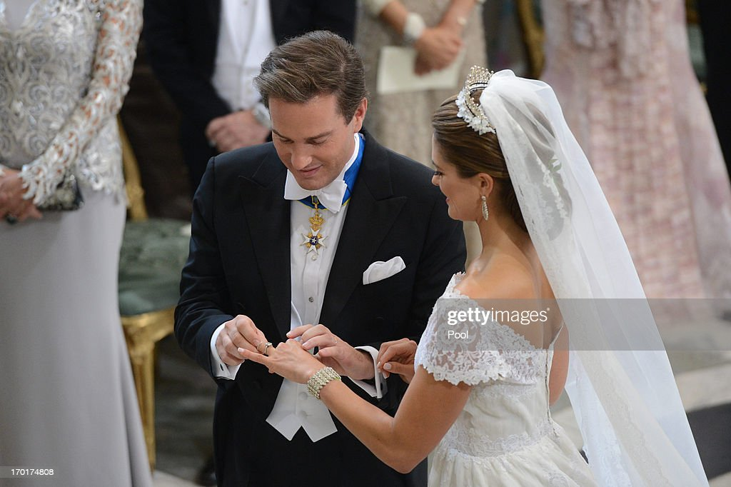 Princess Madeleine of Sweden and Christopher O'Neill exchange rings during the wedding ceremony of Princess Madeleine of Sweden and Christopher...