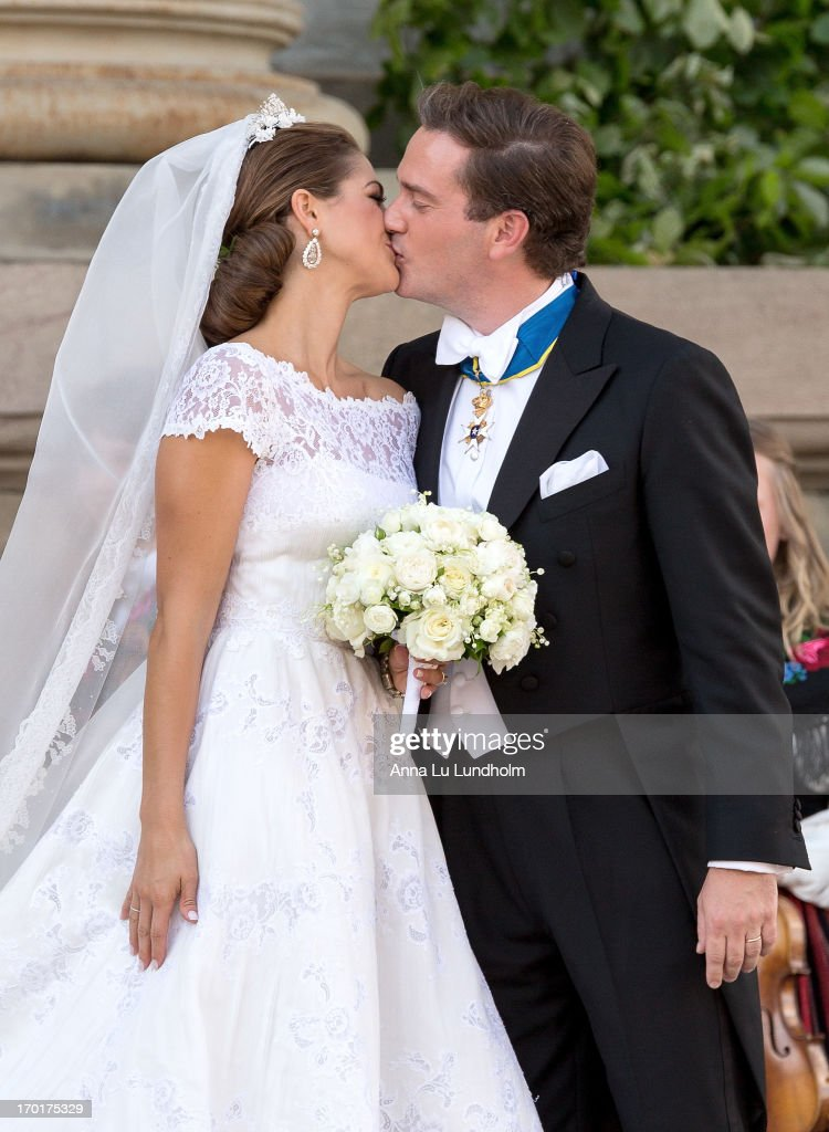Princess Madeleine of Sweden and Christopher O'Neill greet the public and kiss after their wedding ceremony hosted by King Carl Gustaf XIV and Queen...