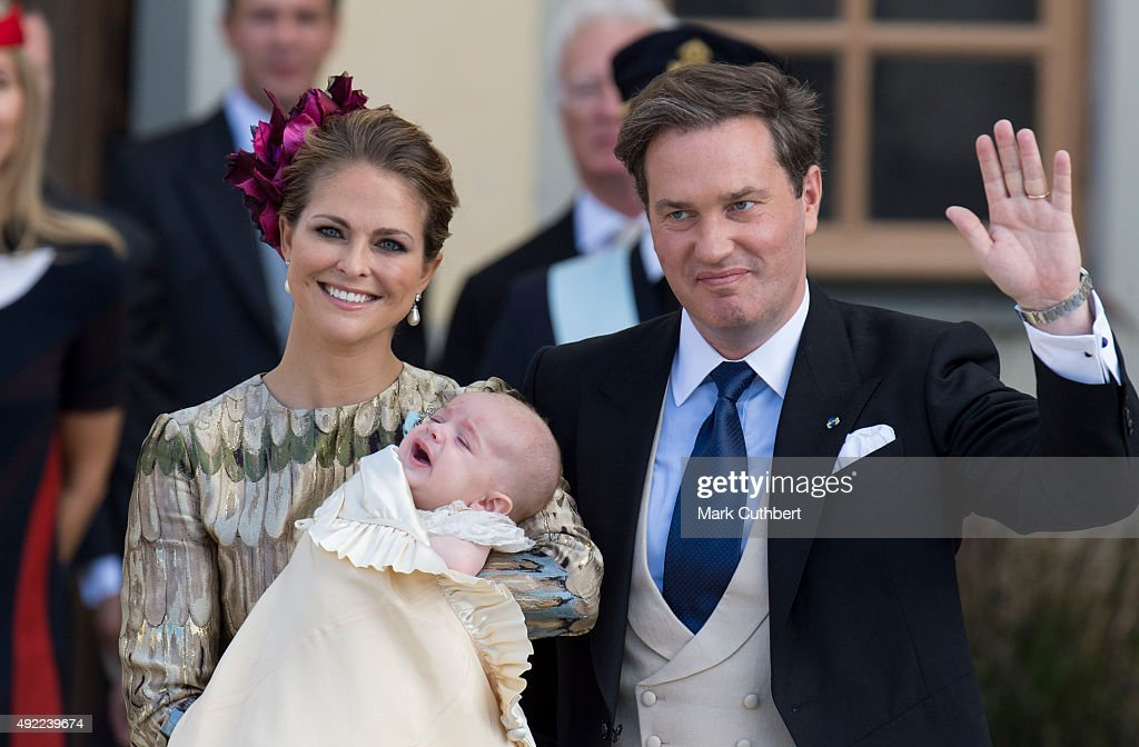 Princess Madeleine of Sweden and Christopher O'Neill with Prince Nicolas of Sweden are seen at Drottningholm Palace for the Christening of Prince...